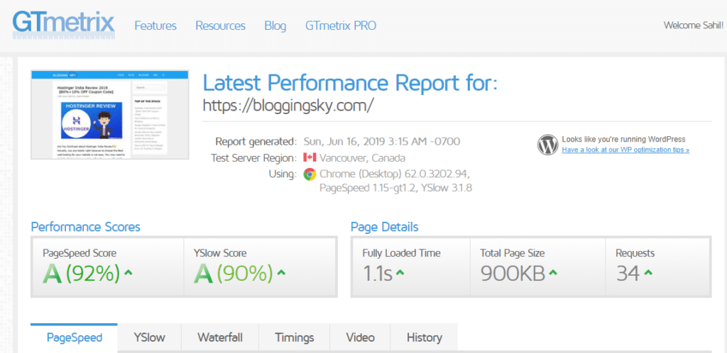 Website Loading Speed Report after shifted to hostinger