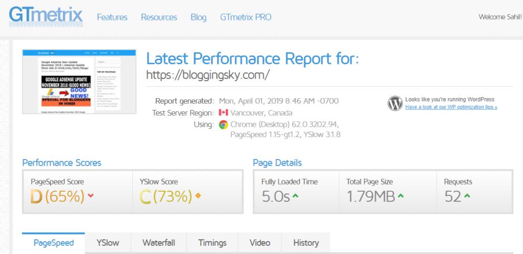 Website Loading Speed Report Before Hosted on Hostinger