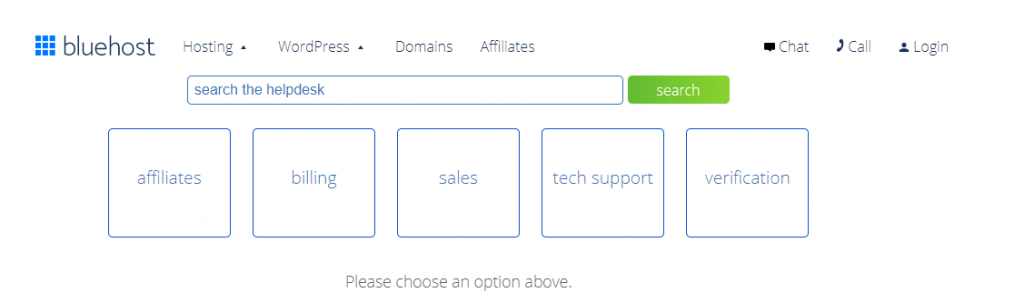 bluehost support ticket