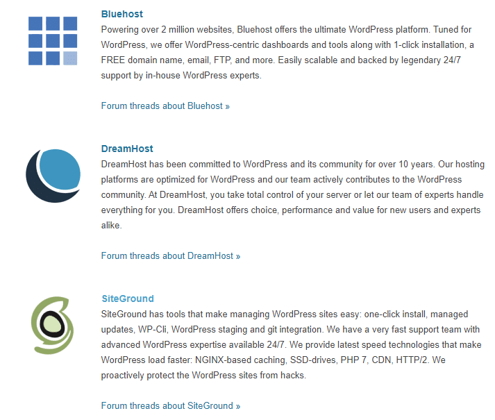 Wordpress.org Recommended Bluehost Hosting
