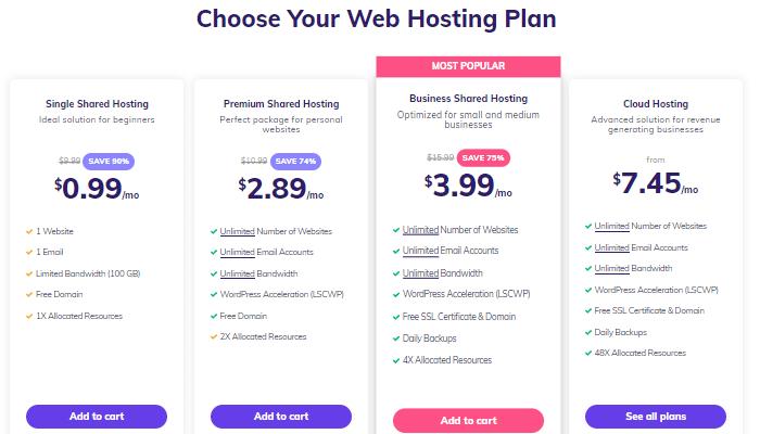 Select Hostinger Hosting Plan