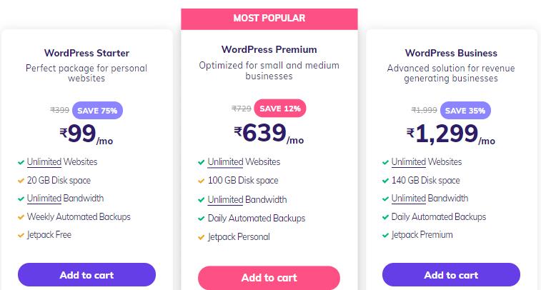 Hostinger WordPress hosting Plan and Pricing