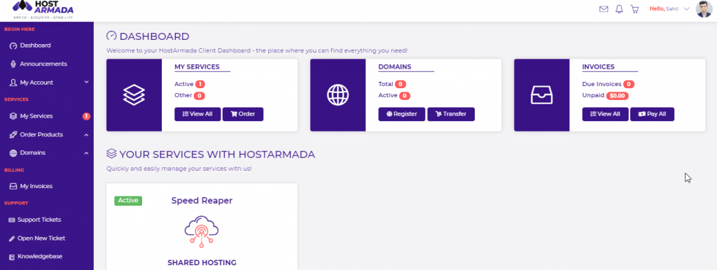 HostArmada Client Dashboard